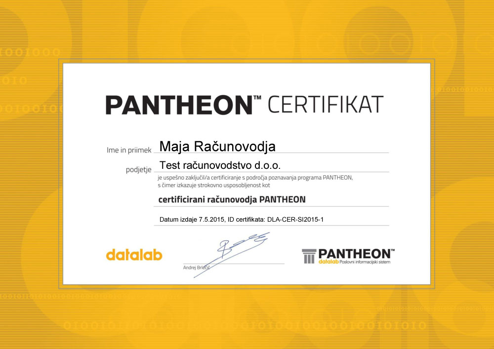 Certified PANTHEON Accountant