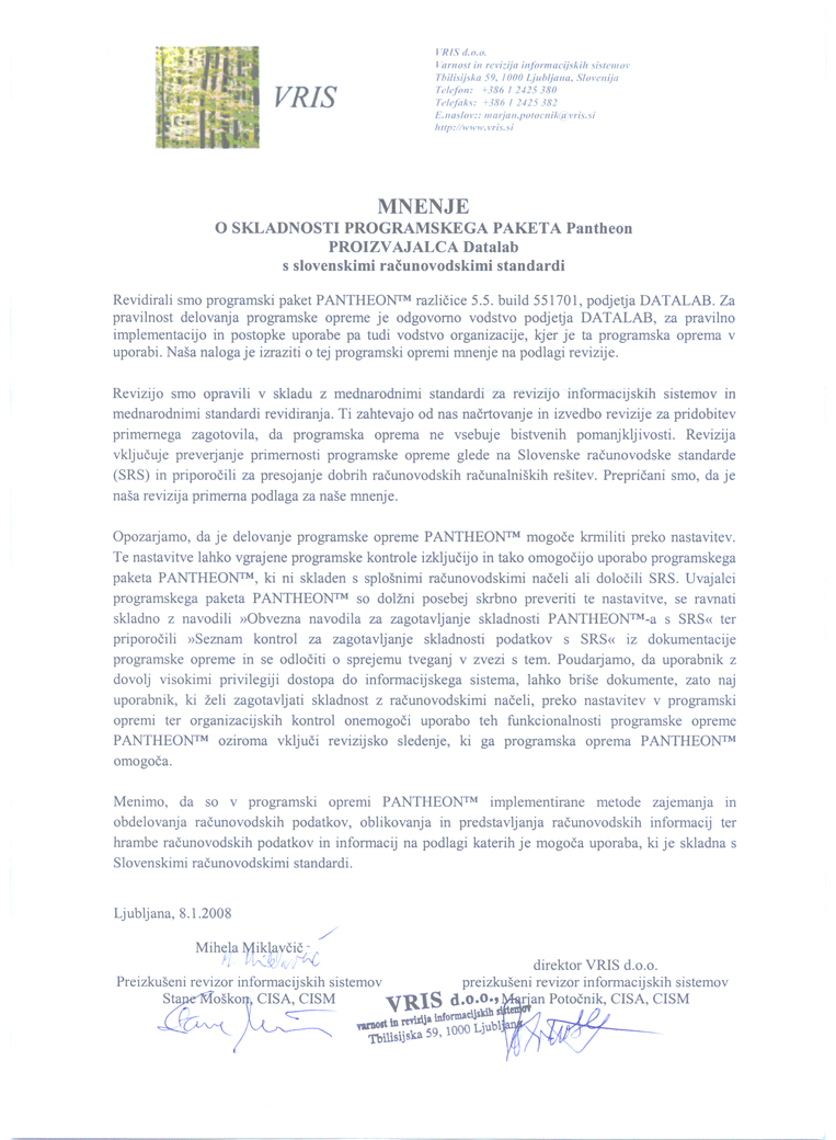 Compliant with Slovenian Accounting Standards (SRS)
